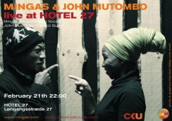 Poster:  Mingas with John Mutombo, Hotel 27 in Copenhagen, February 21, 2013