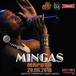 Poster: Friday, June 29, 7PM:  Mingas at 'Night of African Stars',  Centro de Conferências Joaquim Chissano in  Maputo.