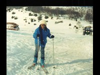 With Orchestra Marrabenta in Norway, March 1988  (First time on skis!)
